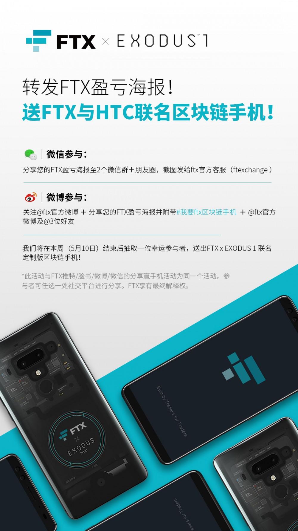 FTX活动 | 分享FTX盈亏海报!送FTX与HTC联名定制版 区块链 手机!