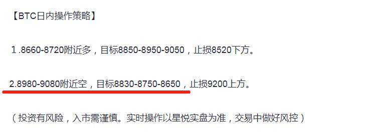 星悦论币:5.6BTC隔日空单短线再拿取200+利润——日内分析