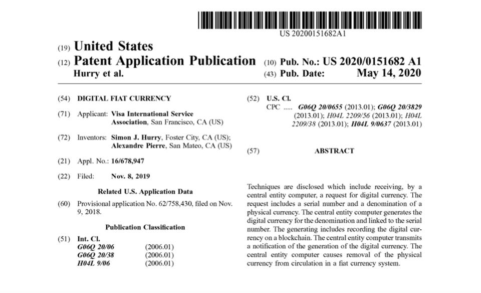 Visa提交数字美元区块链专利申请配图(2)