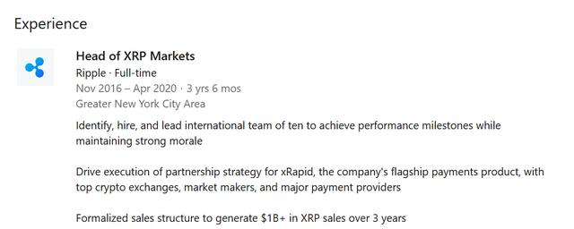 XRP市场负责人在瑞波任职三年半后悄悄离职插图(2)